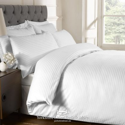 Luxury 250 Thread Count Cotton Satin Stripe Duvet Cover - Yorkshire Linen Beds & More