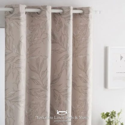 Alicia Jacquard Ring Top Curtain Panel, Nude - Yorkshire Linen Beds & More