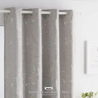 Alicia Jacquard Ring Top Curtain Panel, Silver - Yorkshire Linen Beds & More