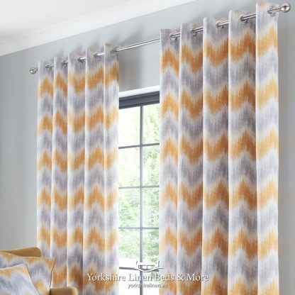 Arizona Ring Top Curtains Ochre and Grey - Yorkshire Linen Beds & More