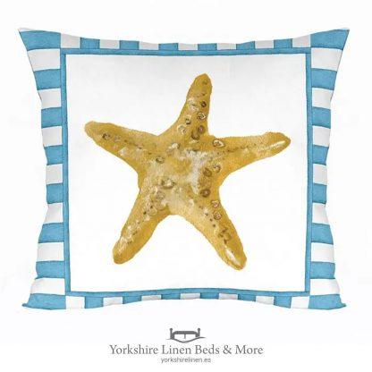 Gold Starfish Cushion - Range of Nautical Cushion Designs - Yorkshire Linen Beds & More