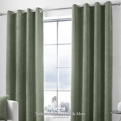 Kintyre Corded Ring Top Curtains Khaki