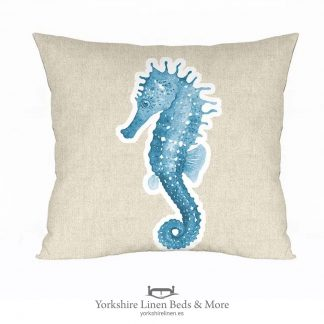 Seahorse Cushion Cover, Linen - Yorkshire Linen Beds & More