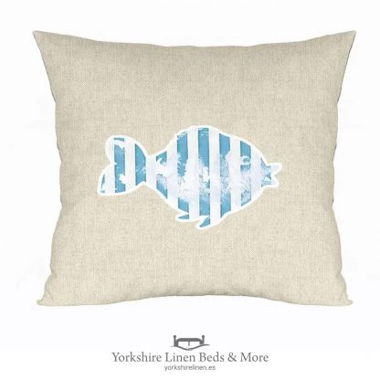 Stripy Fish Cushion Cover, Linen - Yorkshire Linen Beds & More