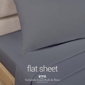Charcoal Grey Polycotton Flat Sheets - Yorkshire Linen Beds & More P03