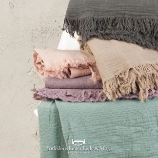 Garment Washed Cotton Throws in 5 Colours - Throws & Bedspreads - Yorkshire Linen Beds & More