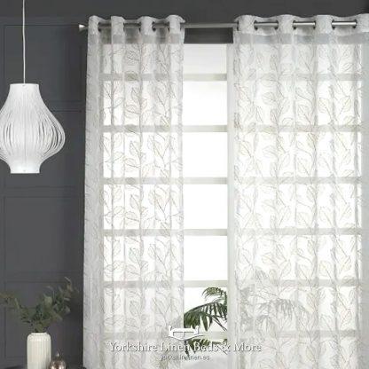 Lattice Leaf Ring Top Voile, Gold -Voile Design Ideas - Yorkshire Linen Beds & More
