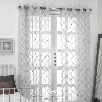 Lattice Leaf Ringtop Voile, Silver -Voile Design Ideas - Yorkshire Linen Beds & More