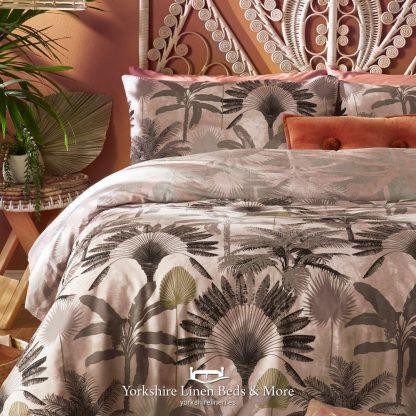 Midnight Palm Duvet Cover Set, Dusky Pink - Duvet Cover Sets - Yorkshire Linen Beds & More