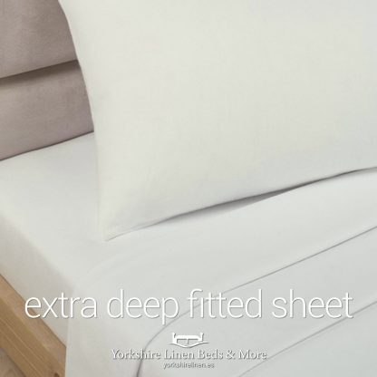 Polycotton Extra Deep Fitted, Ivory - Yorkshire Linen Beds & More P01
