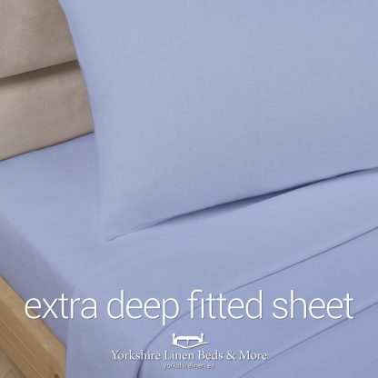 Polycotton Extra Deep Fitted, Light Blue - Yorkshire Linen Beds & More P01