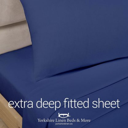 Polycotton Extra Deep Fitted, Navy Blue - Yorkshire Linen Beds & More P01