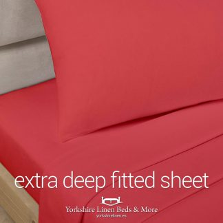 Polycotton Extra Deep Fitted Sheet, Red - Yorkshire Linen Beds & More P01