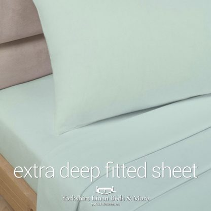 Polycotton Extra Deep Fitted, Soft Green - Yorkshire Linen Beds & More P01