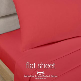 Red Polycotton Flat Sheets - Yorkshire Linen Beds & More P01