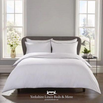 400 TC 100% Cotton Heritage Duvet Set, Silver Grey - Bedspreads & Throws - Yorkshire Linen Beds & More