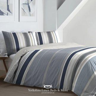 Falmouth Stripe Duvet Set Navy - Duvet Covers & Bedding Sets - Yorkshire Linen Beds & More P01