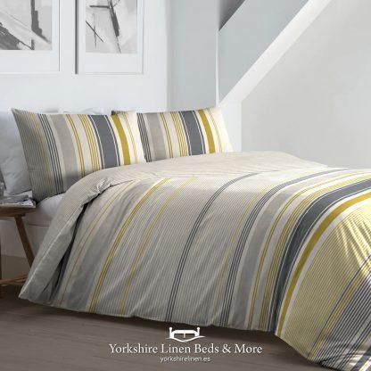 Falmouth Stripe Duvet Set Ochre - Duvet Covers & Bedding Sets - Yorkshire Linen Beds & More P01