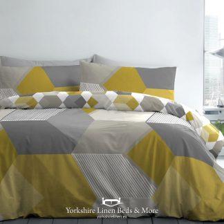 Hexagon Duvet Set Ochre - Duvet Covers & Bedding Sets - Yorkshire Linen Beds & More P01