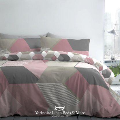 Hexagon Duvet Set Pink - Duvet Covers & Bedding Sets - Yorkshire Linen Beds & More P01