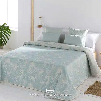 Ibiza Summer Weight Bedspread, Duck Egg - Bedspreads & Throws - Yorkshire Linen Beds & More