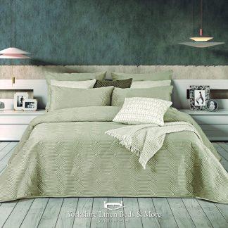 Luxury Geo Plain Velvet Bedspread, Champagne - Bedspreads & Throws - Yorkshire Linen Beds & More