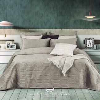 Luxury Geo Plain Velvet Bedspread, Latte - Bedspreads & Throws - Yorkshire Linen Beds & More