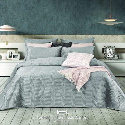 Luxury Geo Plain Velvet Bedspread, Silver - Bedspreads & Throws - Yorkshire Linen Beds & More