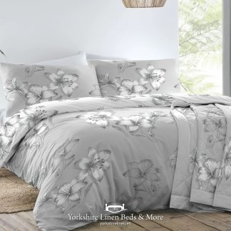 Kitty Floral Duvet Set Grey - Duvet Covers & Bedding Sets - Yorkshire Linen Beds & More P01