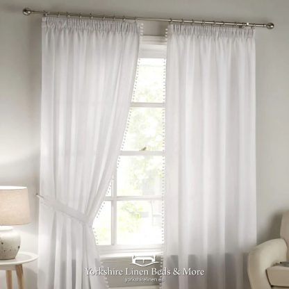 Pom-Pom Pencil Pleat Lined Voile - Curtains Voiles Nets - Yorkshire Linen Beds & More P01