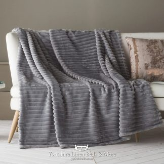 Aspen Fur Lined Sherpa Throw, Grey - Bedspreads & Throws, Yorkshire Linen Beds & More