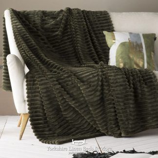 Aspen Fur Lined Sherpa Throw, Khaki - Bedspreads & Throws, Yorkshire Linen Beds & More
