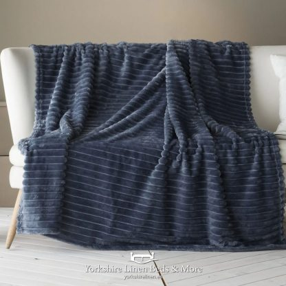 Aspen Fur Lined Sherpa Throw, Navy - Bedspreads & Throws, Yorkshire Linen Beds & More