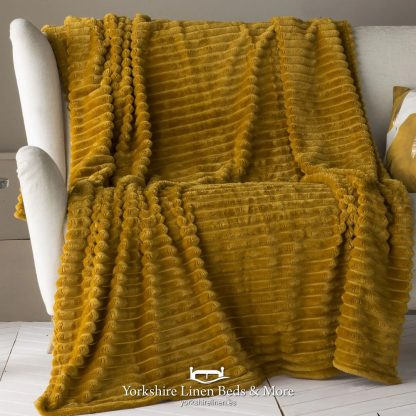 Aspen Fur Lined Sherpa Throw, Ochre - Bedspreads & Throws, Yorkshire Linen Beds & More