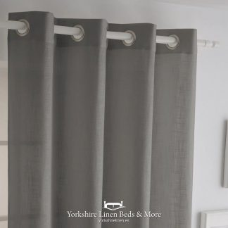 Italia Heavyweight Ringtop Grey - Curtains & Voiles, Yorkshire Linen Beds & More