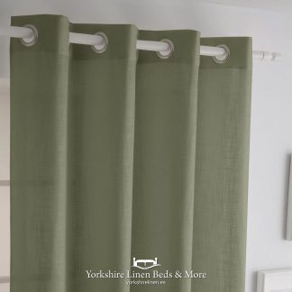 Italia Heavyweight Ringtop Khaki - Curtains & Voiles, Yorkshire Linen Beds & More