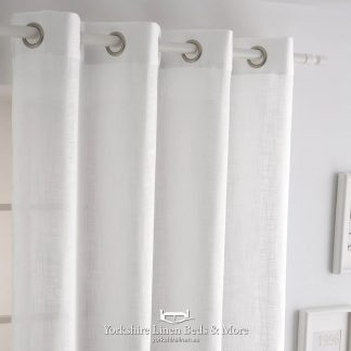 Italia Heavyweight Ringtop Voile, White - Curtains & Voiles, Yorkshire Linen Beds & More