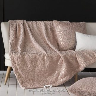 Norway Super Soft Throw, Pink and Gold - Bedspreads & Throws - Yorkshire Linen Beds & More