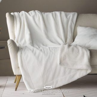 Tirol Sherpa Faux Fur Throw, Natural - Bedspreads & Throws - Yorkshire Linen Beds & More