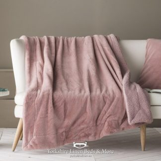 Tirol Sherpa Faux Fur Throw, Rose - Bedspreads & Throws - Yorkshire Linen Beds & More