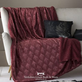Toronto Luxury Sherpa Throw, Cherry - Bedspreads & Throws - Yorkshire Linen Beds & More