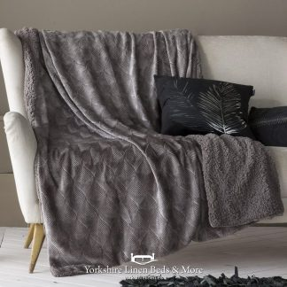 Toronto Luxury Sherpa Throw, Grey - Bedspreads & Throws - Yorkshire Linen Beds & More