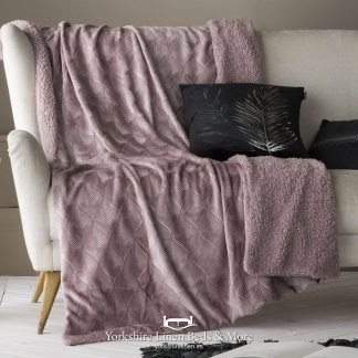 Toronto Luxury Sherpa Throw, Heather - Bedspreads & Throws - Yorkshire Linen Beds & More